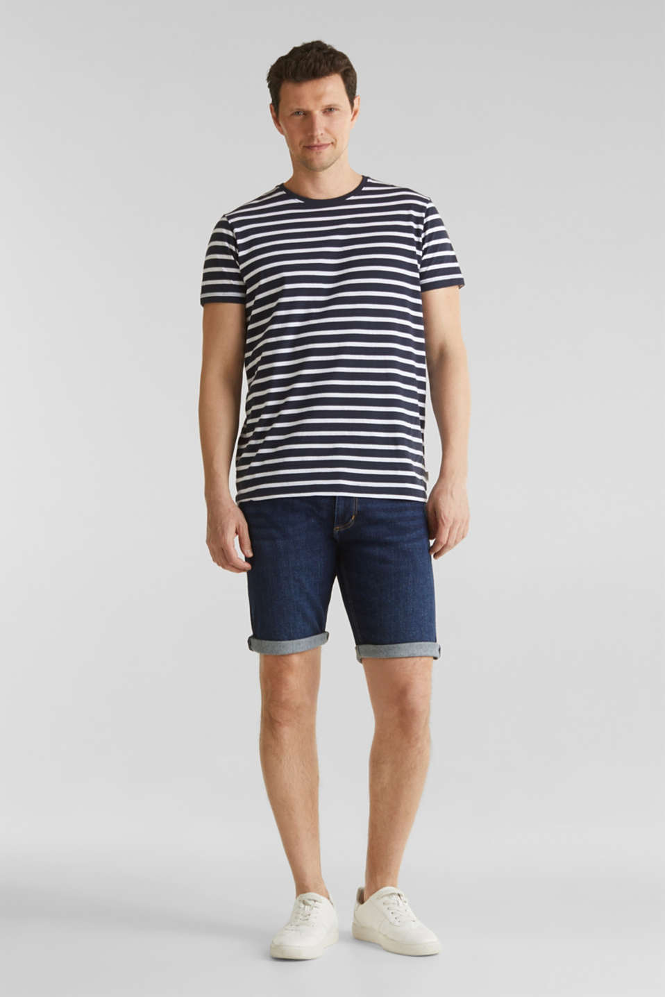 Denim shorts with organic cotton, BLUE MEDIUM WASH, detail image number 1