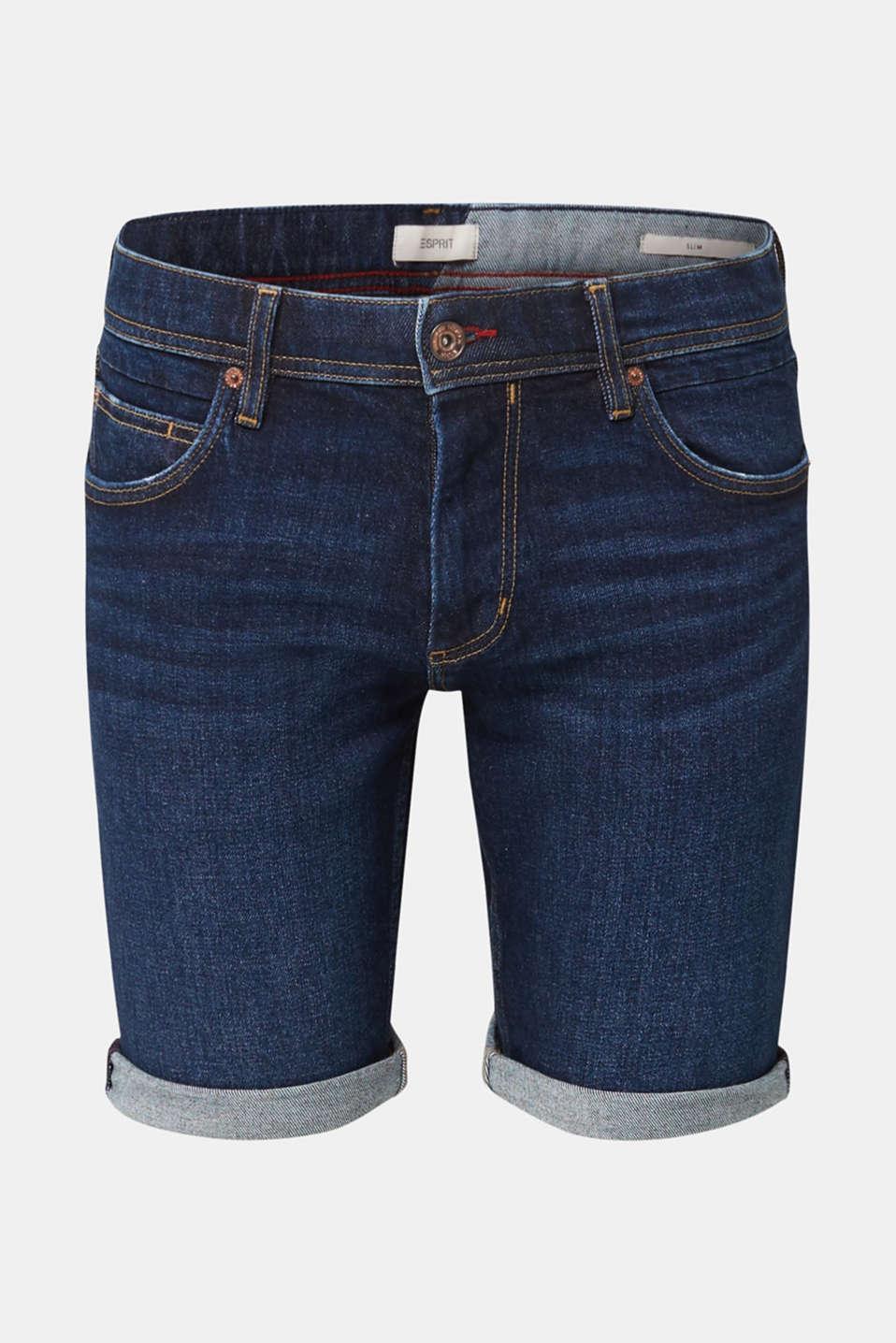 Denim shorts with organic cotton, BLUE MEDIUM WASH, detail image number 7