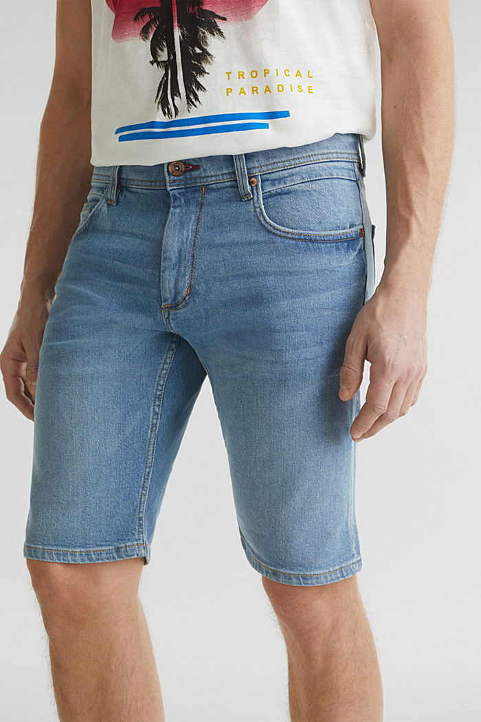 Denim shorts with organic cotton, BLUE LIGHT WASHED, detail image number 3