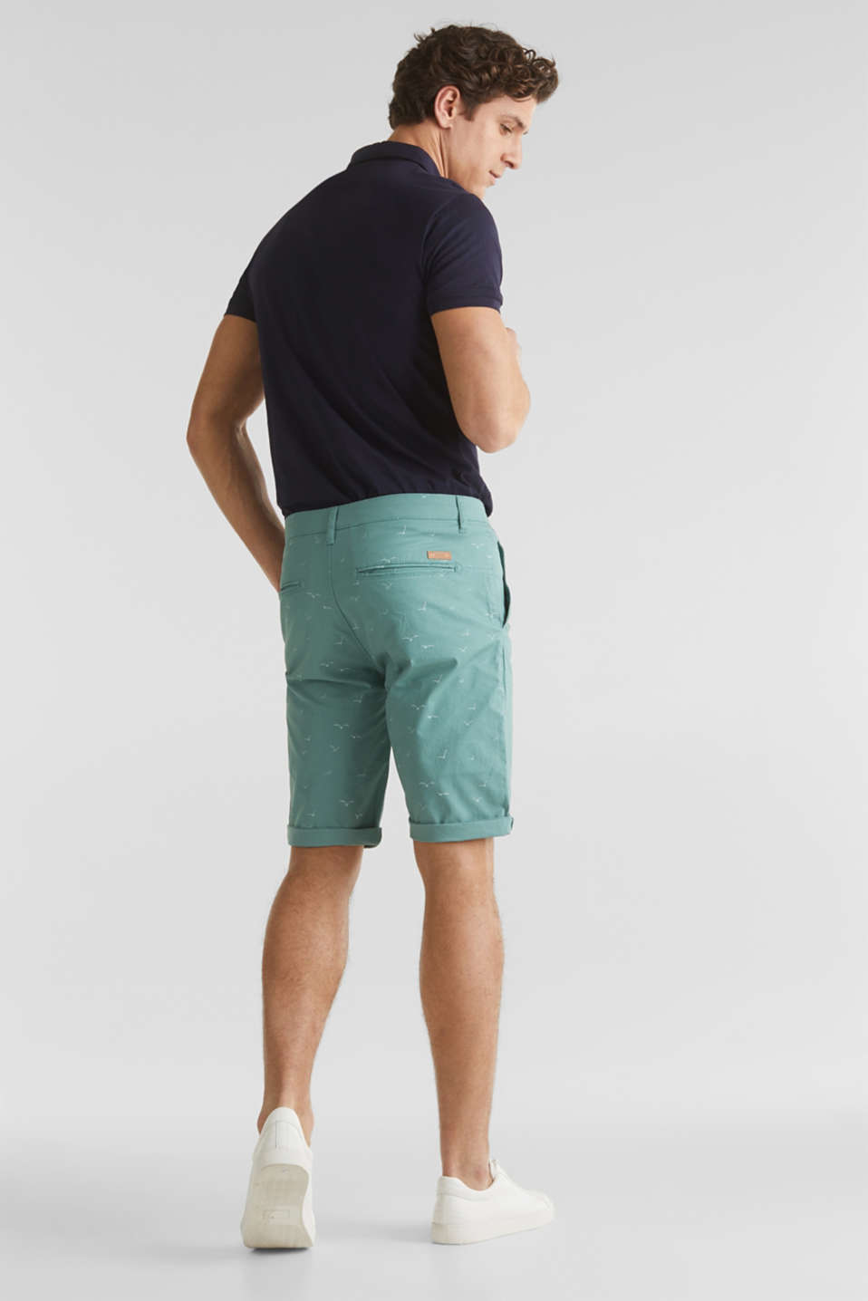 With organic cotton: printed shorts, TEAL GREEN 5, detail image number 3