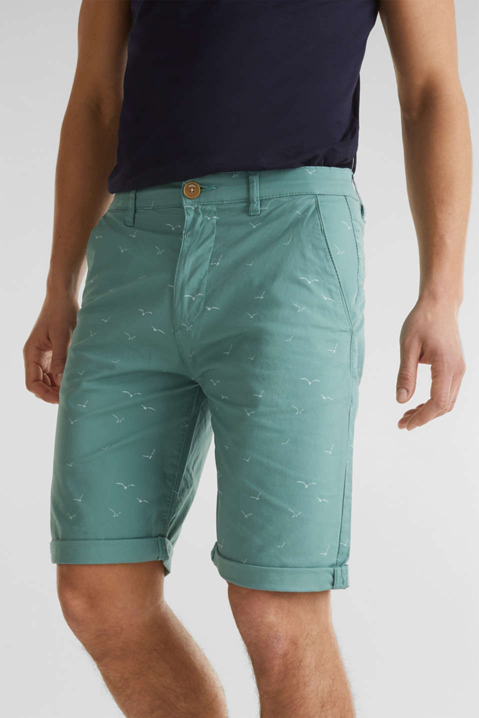 With organic cotton: printed shorts, TEAL GREEN 5, detail image number 2