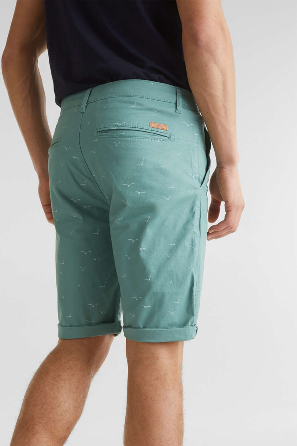 With organic cotton: printed shorts, TEAL GREEN 5, detail image number 5