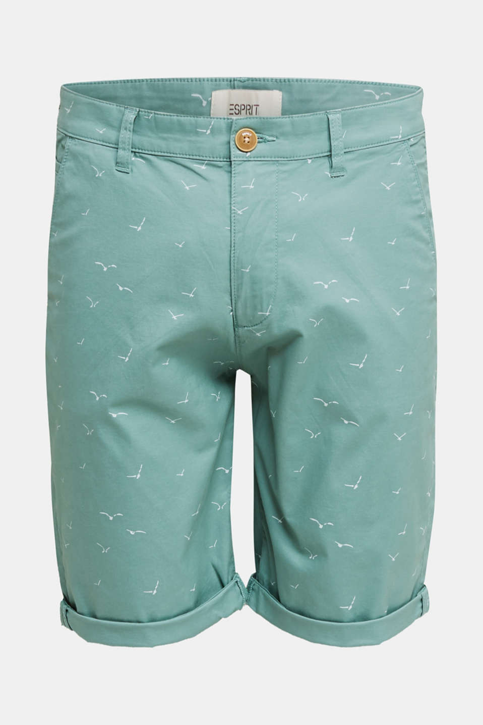 With organic cotton: printed shorts, TEAL GREEN 5, detail image number 6