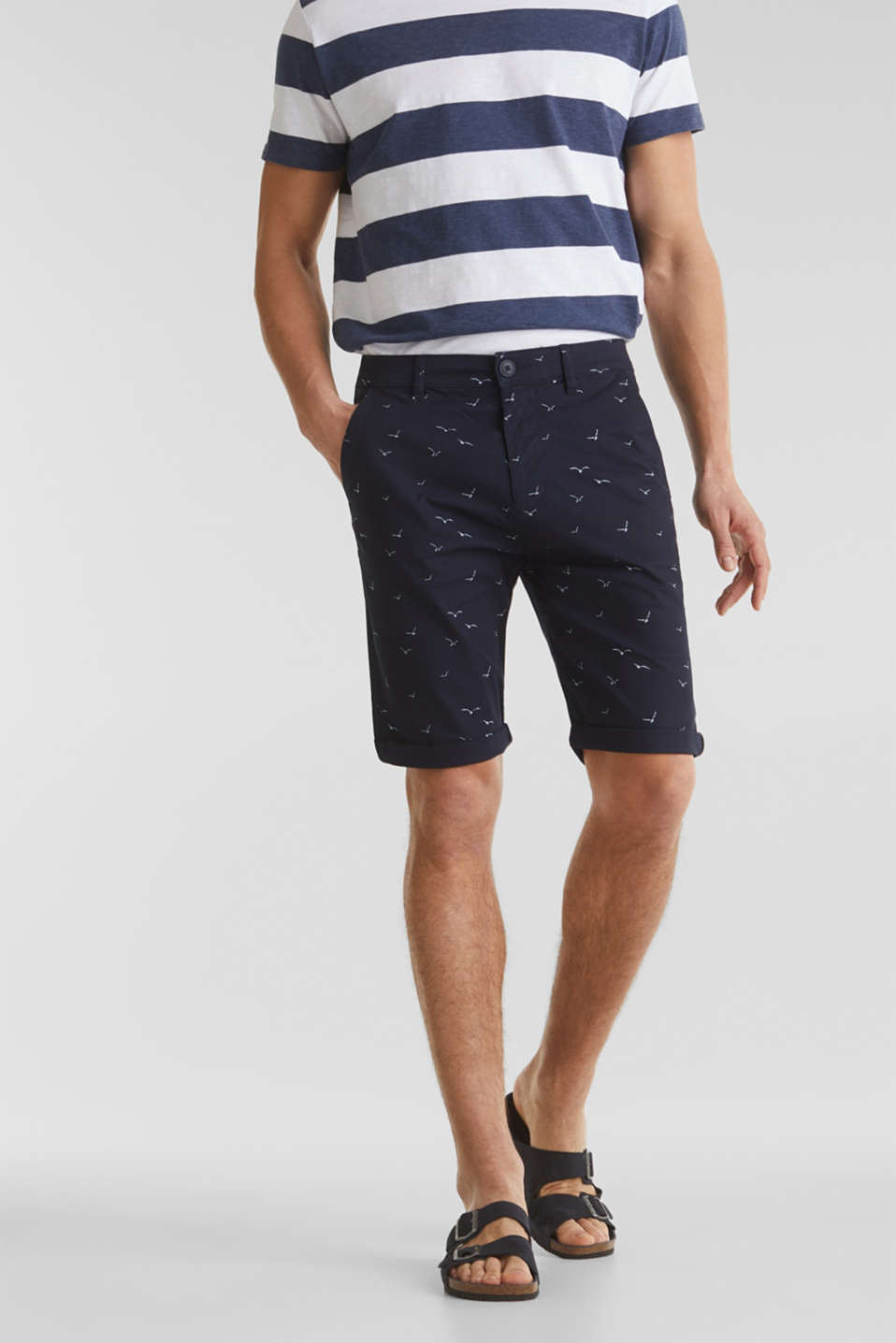 With organic cotton: printed shorts, NAVY 4, detail image number 0