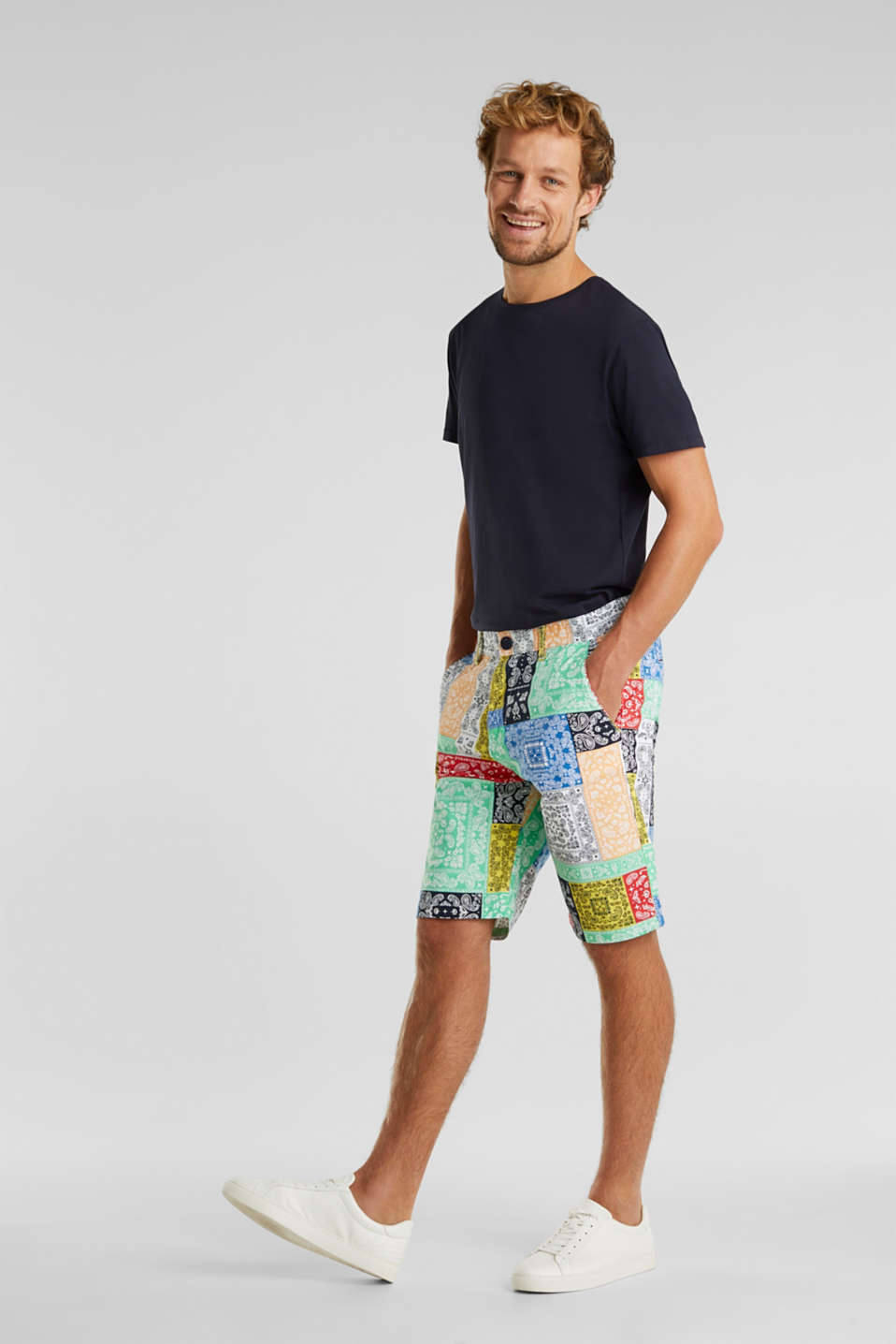 High-quality shorts with Pima cotton, OFF WHITE 4, detail image number 1