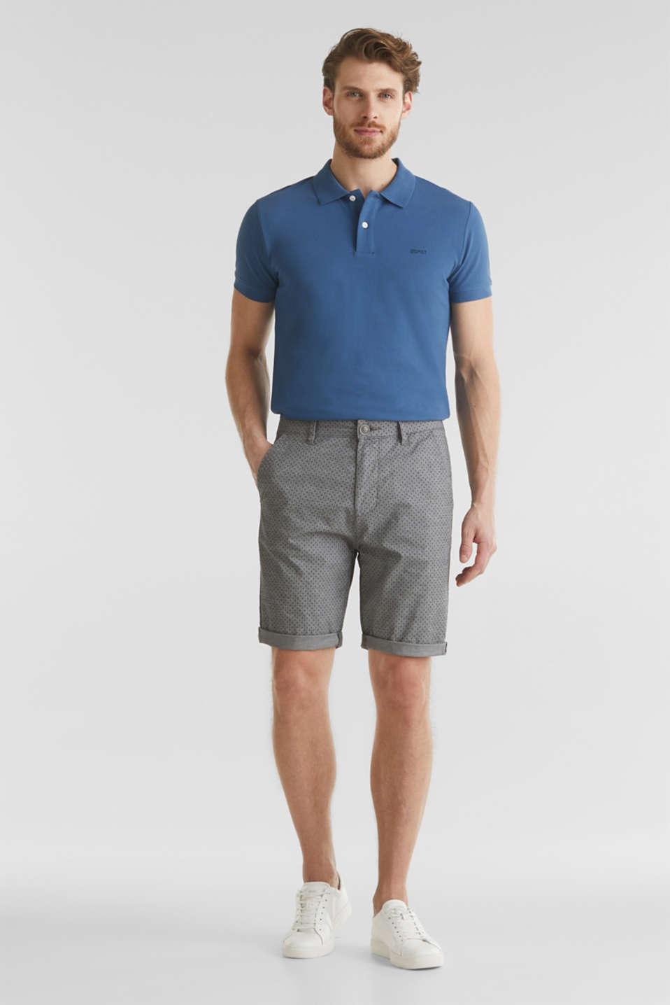 Printed stretch cotton shorts, DARK GREY 5, detail image number 0