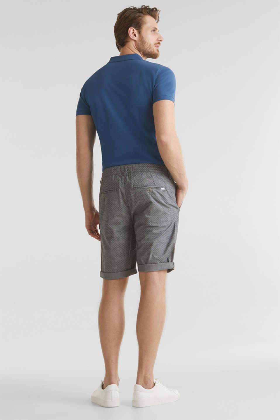 Printed stretch cotton shorts, DARK GREY 5, detail image number 2