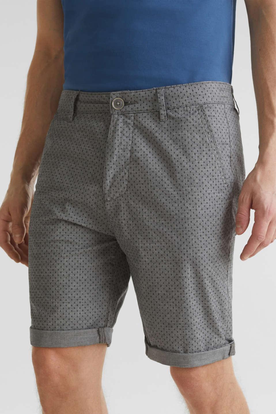 Printed stretch cotton shorts, DARK GREY 5, detail image number 1