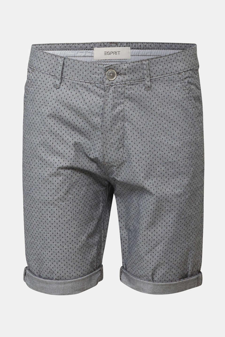 Printed stretch cotton shorts, DARK GREY 5, detail image number 4