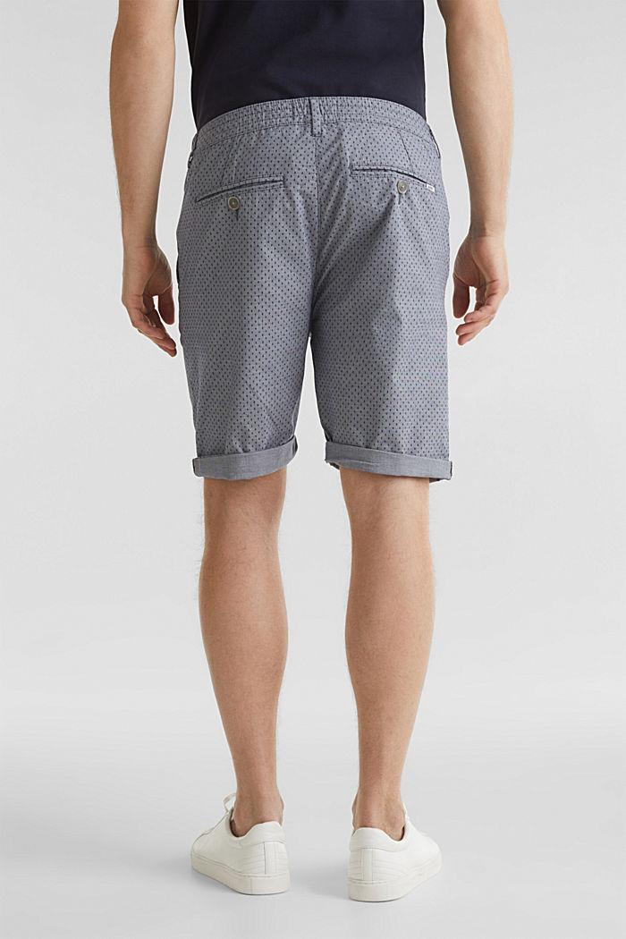 Printed stretch cotton shorts, DARK BLUE, detail image number 3