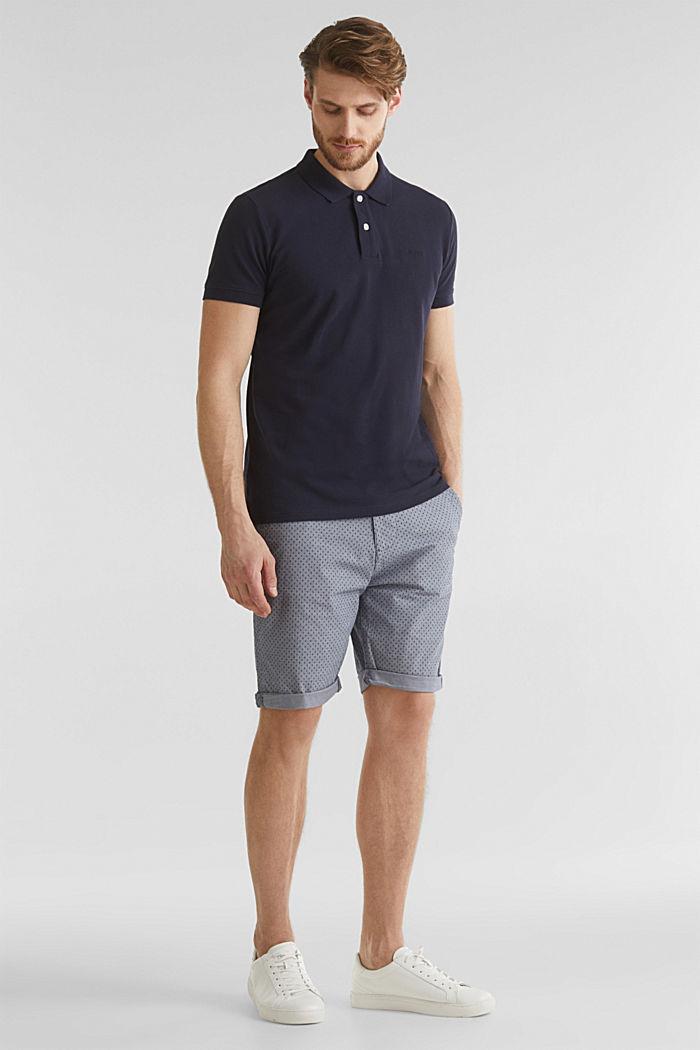 Printed stretch cotton shorts, DARK BLUE, detail image number 1