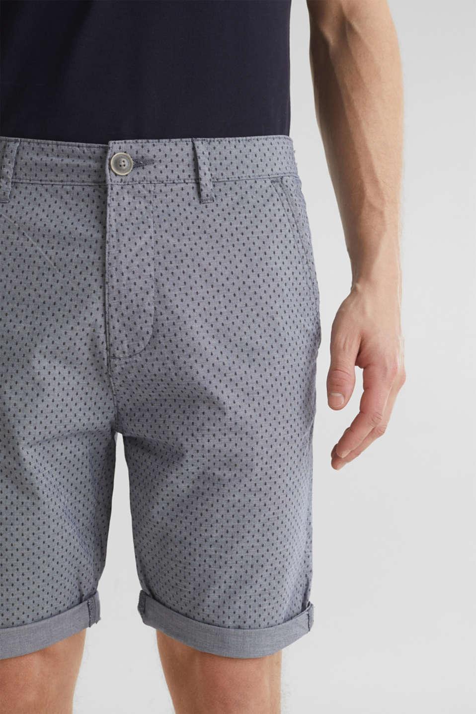 Printed stretch cotton shorts, DARK BLUE 5, detail image number 2