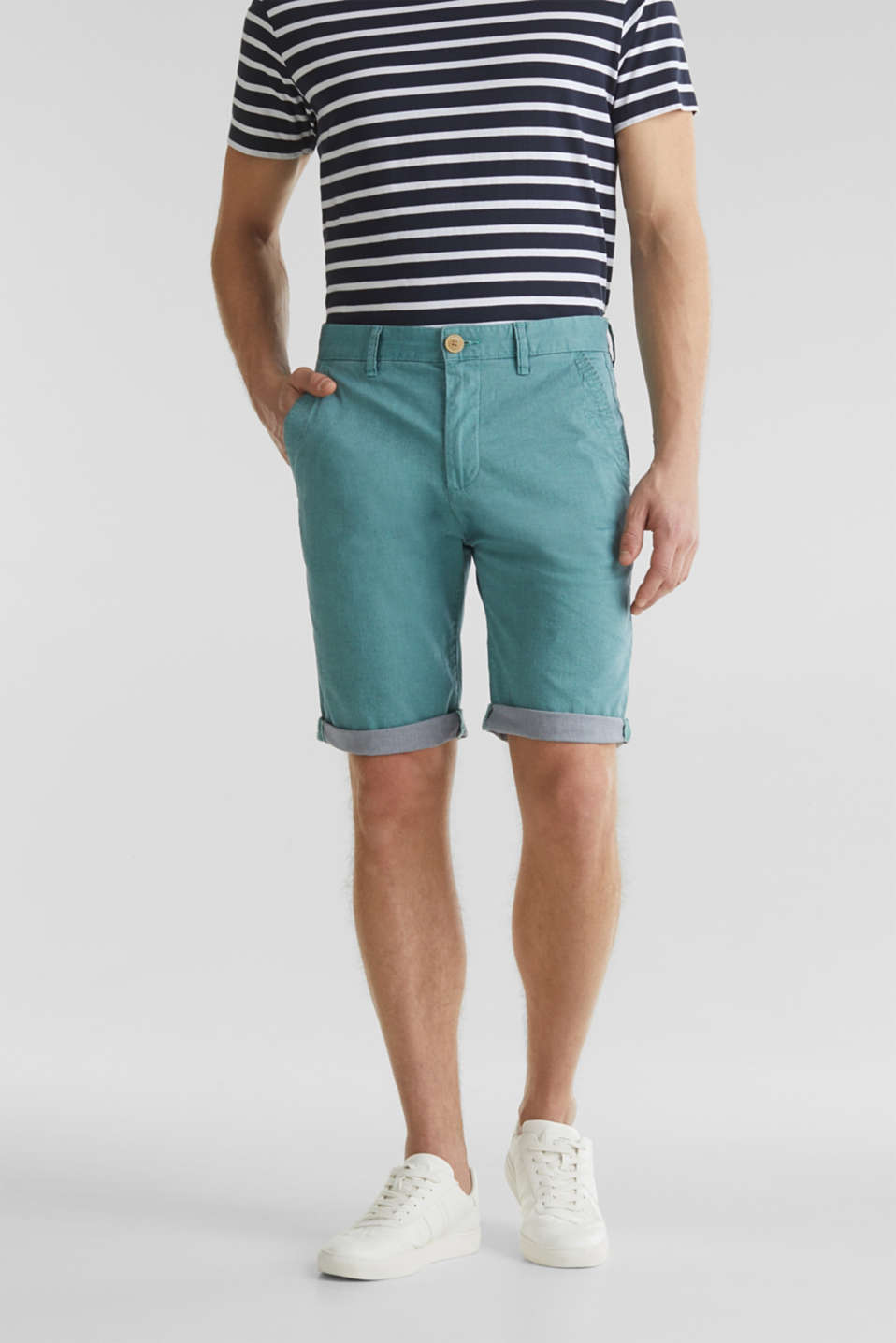 Shorts with garment-washed effects, TEAL GREEN, detail image number 0