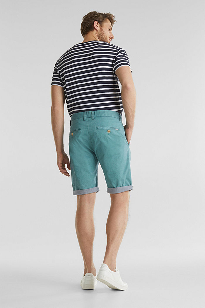 Shorts with garment-washed effects, TEAL GREEN, detail image number 3
