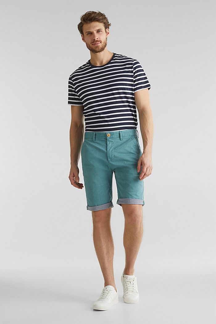 Shorts with garment-washed effects, TEAL GREEN, detail image number 6