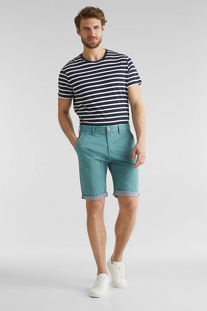 Shorts with garment-washed effects, TEAL GREEN, detail image number 1