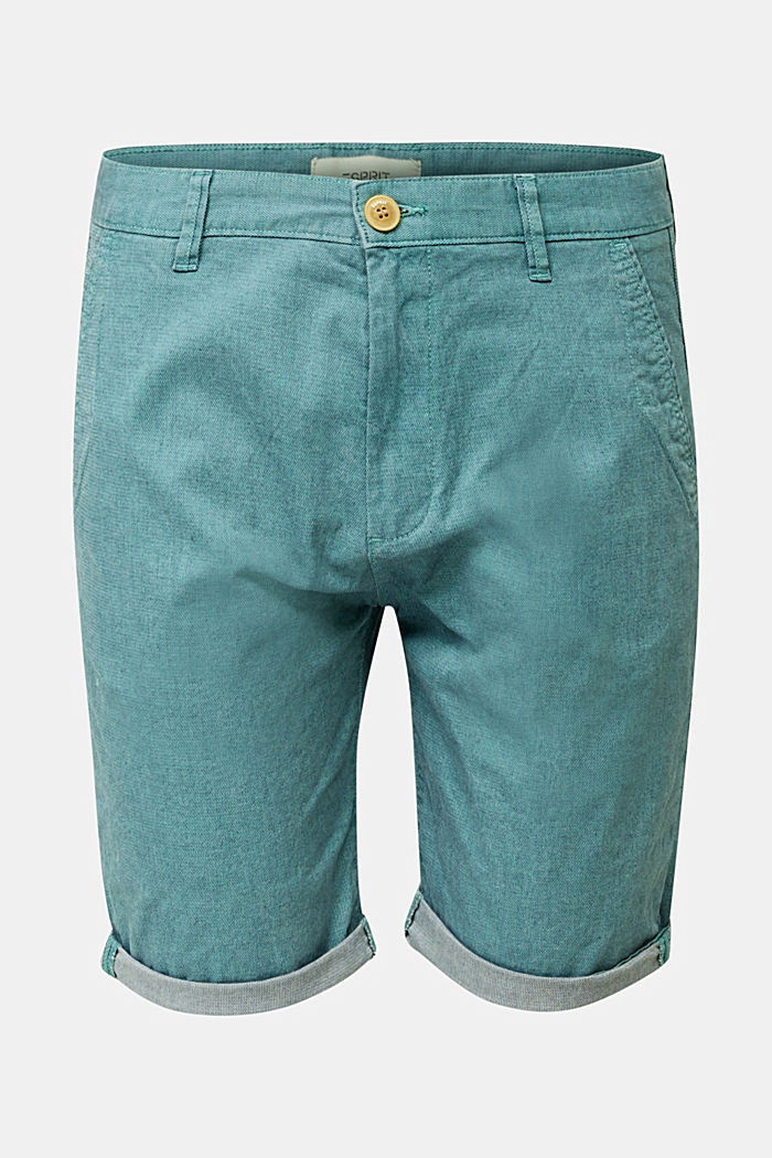 Shorts with garment-washed effects, TEAL GREEN, detail image number 7