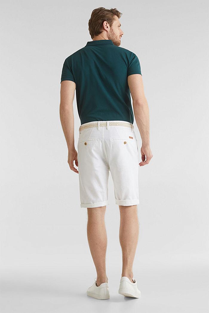 Blended linen: Bermudas with belt, WHITE, detail image number 3