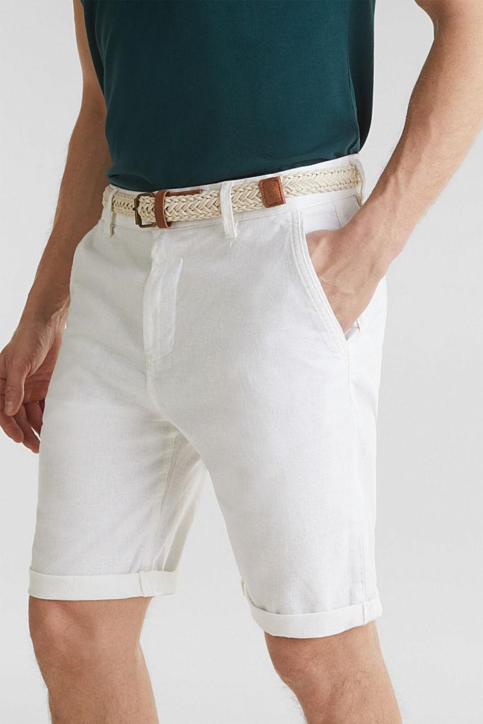 Blended linen: Bermudas with belt, WHITE, detail image number 2