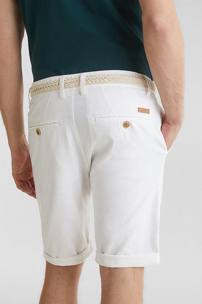 Blended linen: Bermudas with belt, WHITE, detail image number 5