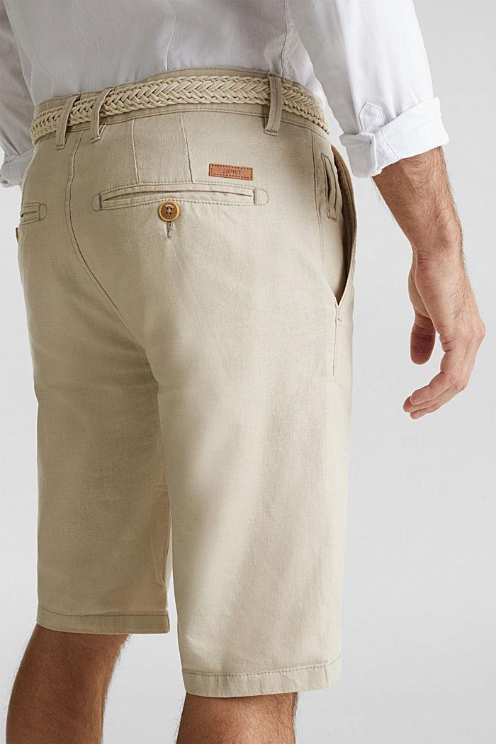 Con lino: bermudas con cinturón, LIGHT BEIGE, detail image number 2