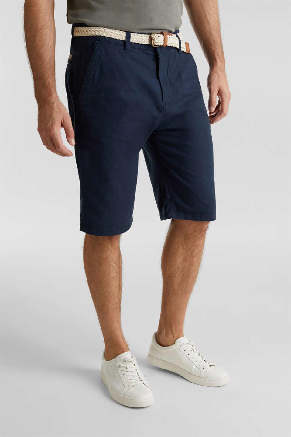 Blended linen: Bermudas with belt, DARK BLUE, detail image number 0