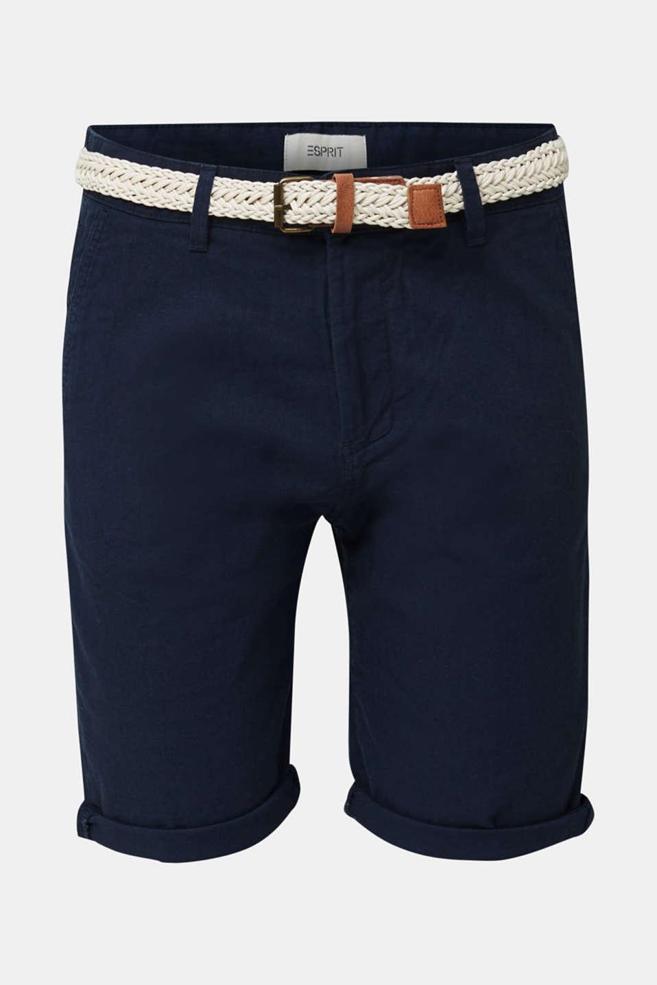 Blended linen: Bermudas with belt, DARK BLUE, detail image number 6