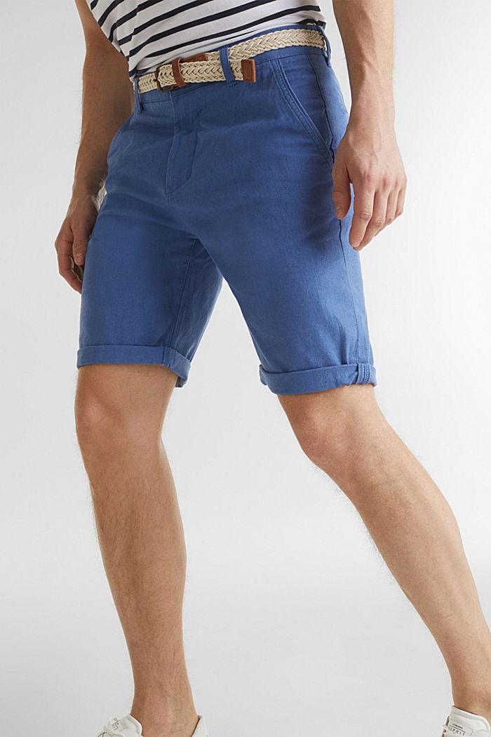 Blended linen: Bermudas with belt, BLUE, detail image number 5