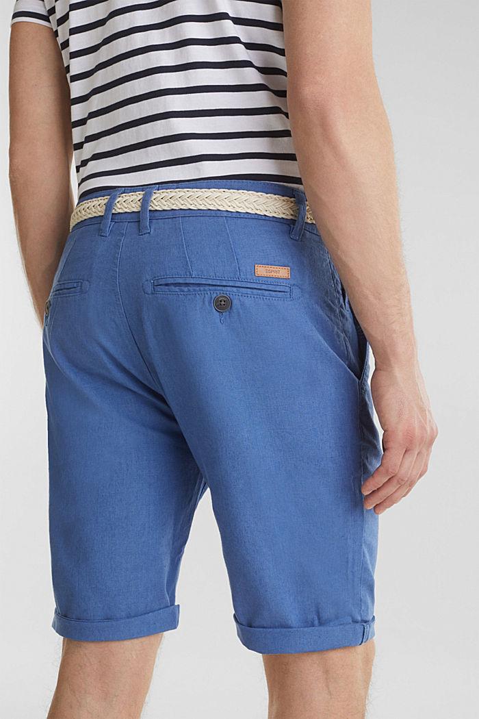 Blended linen: Bermudas with belt, BLUE, detail image number 4