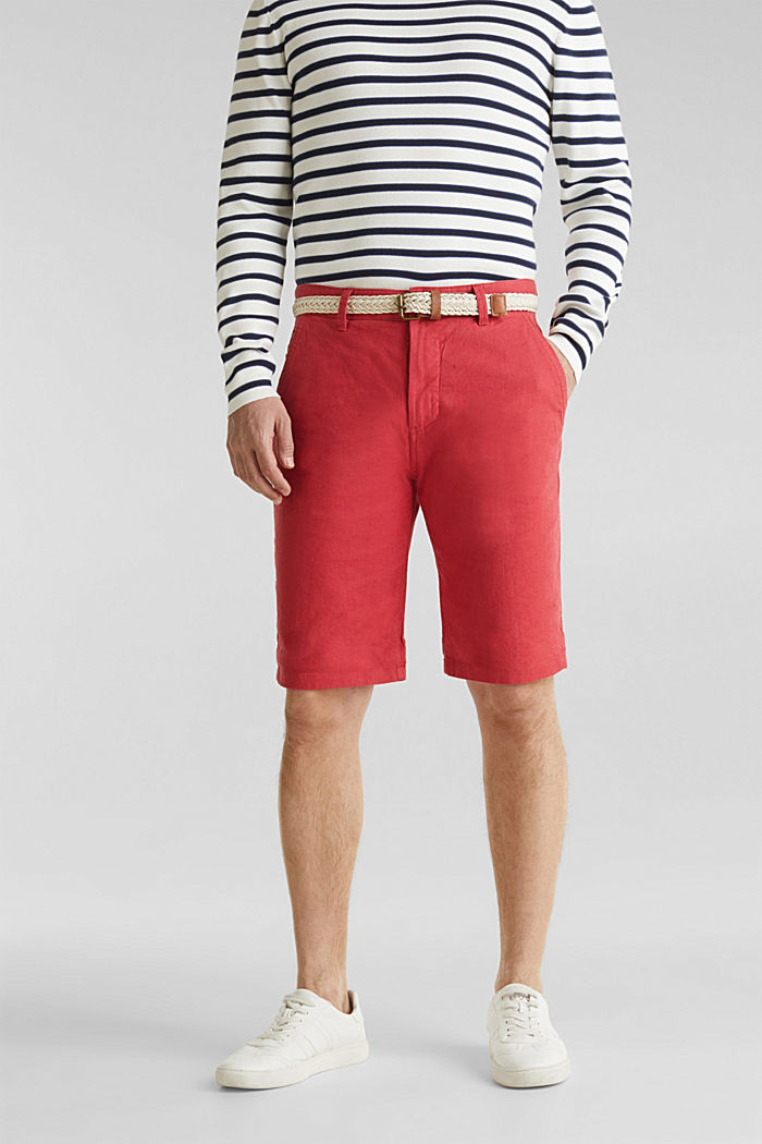 Blended linen: Bermudas with belt, ORANGE RED, detail image number 0