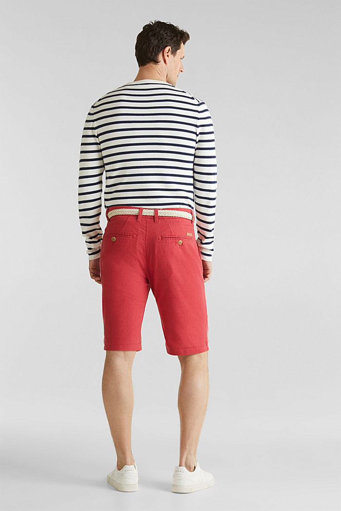 Blended linen: Bermudas with belt, ORANGE RED, detail image number 3