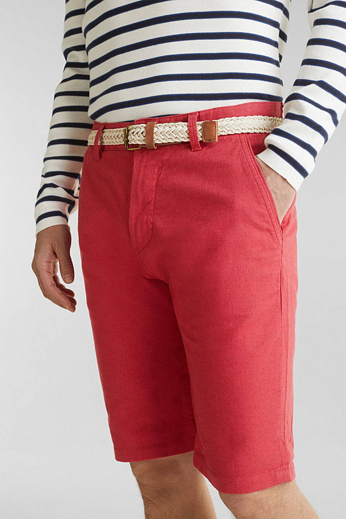 Blended linen: Bermudas with belt, ORANGE RED, detail image number 2