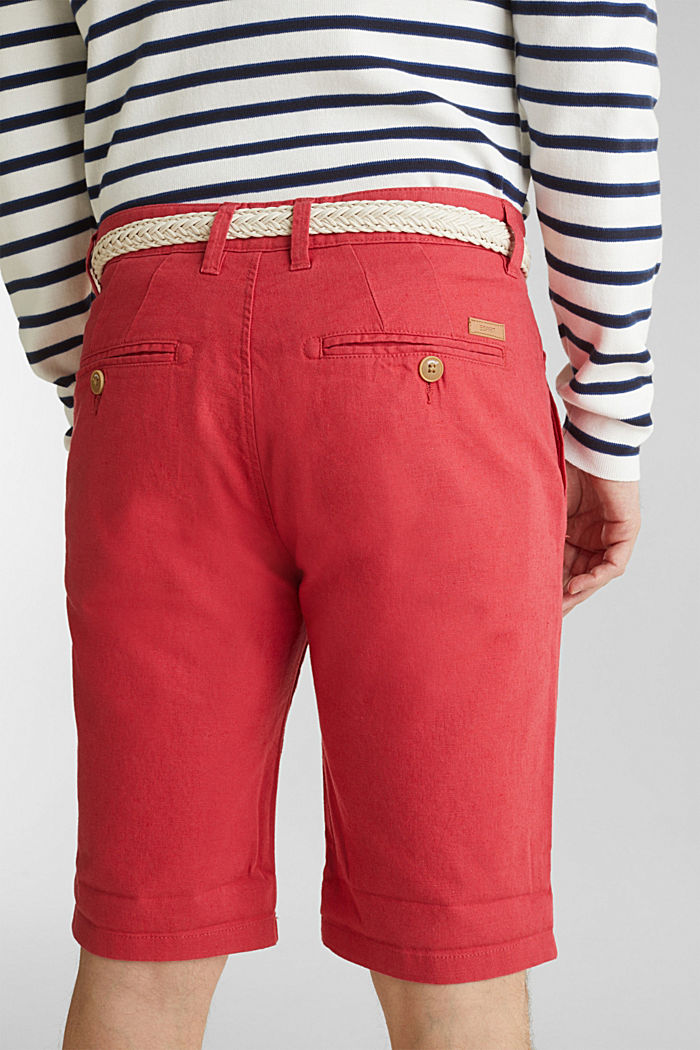 Blended linen: Bermudas with belt, ORANGE RED, detail image number 5