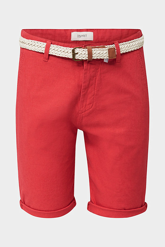 Blended linen: Bermudas with belt, ORANGE RED, overview