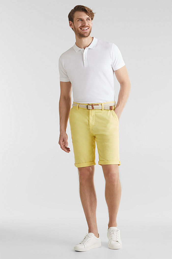 Blended linen: Bermudas with belt, HONEY YELLOW, detail image number 0