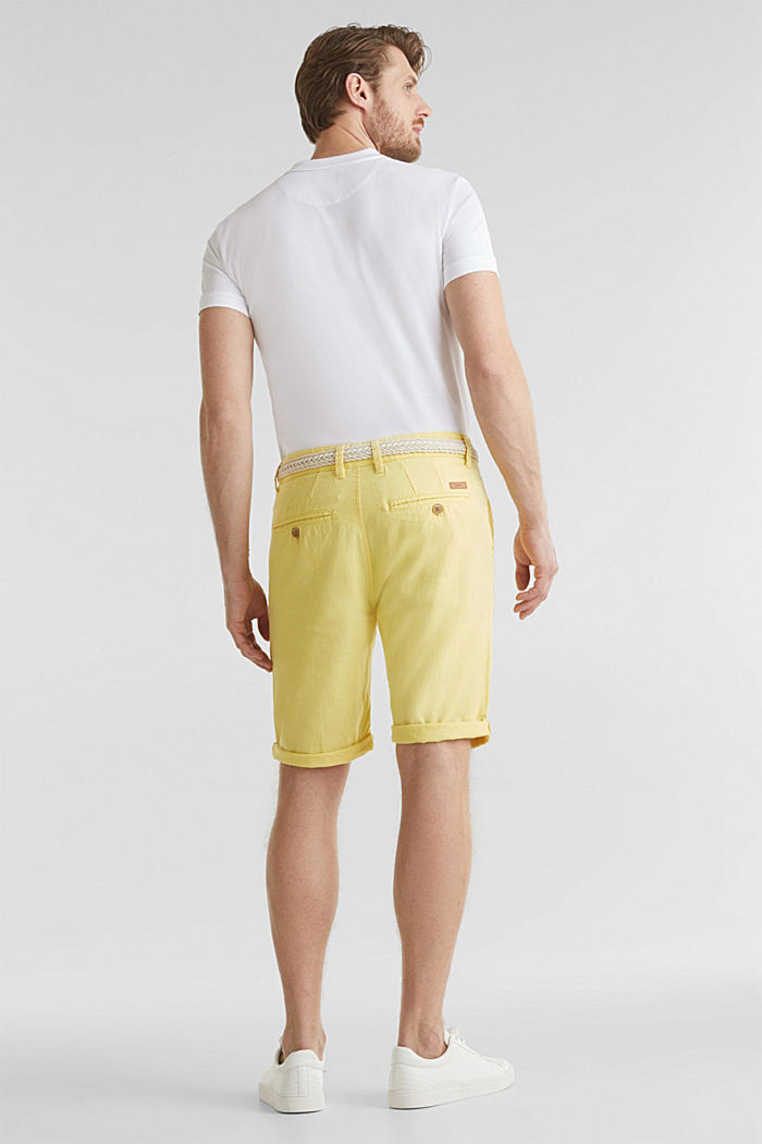 Blended linen: Bermudas with belt, HONEY YELLOW, detail image number 2