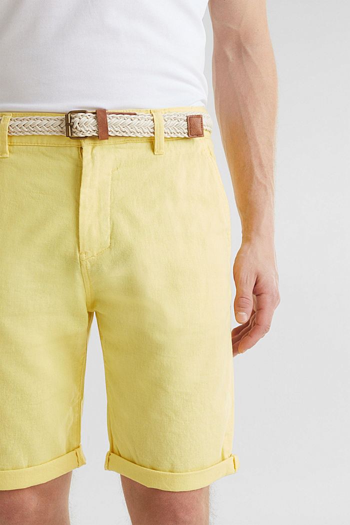 Blended linen: Bermudas with belt, HONEY YELLOW, detail image number 1