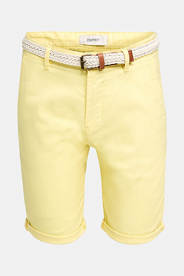 Blended linen: Bermudas with belt, HONEY YELLOW, detail image number 4