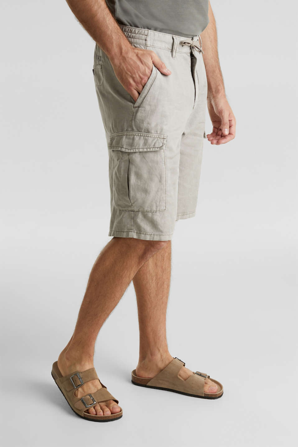 With linen: cargo shorts, LIGHT GREY, detail image number 0