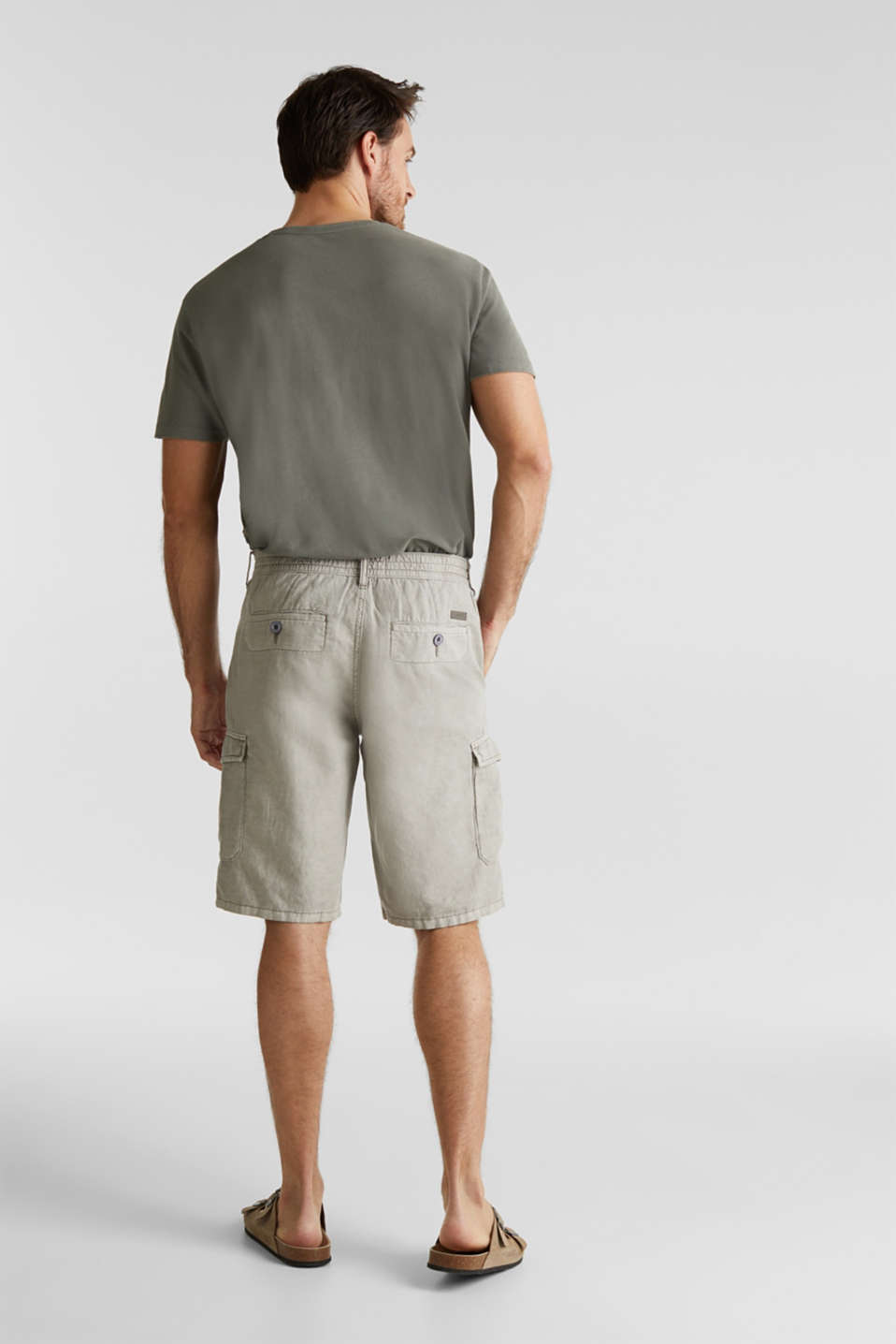 With linen: cargo shorts, LIGHT GREY, detail image number 3
