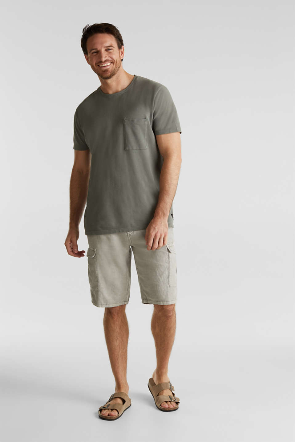 With linen: cargo shorts, LIGHT GREY, detail image number 1