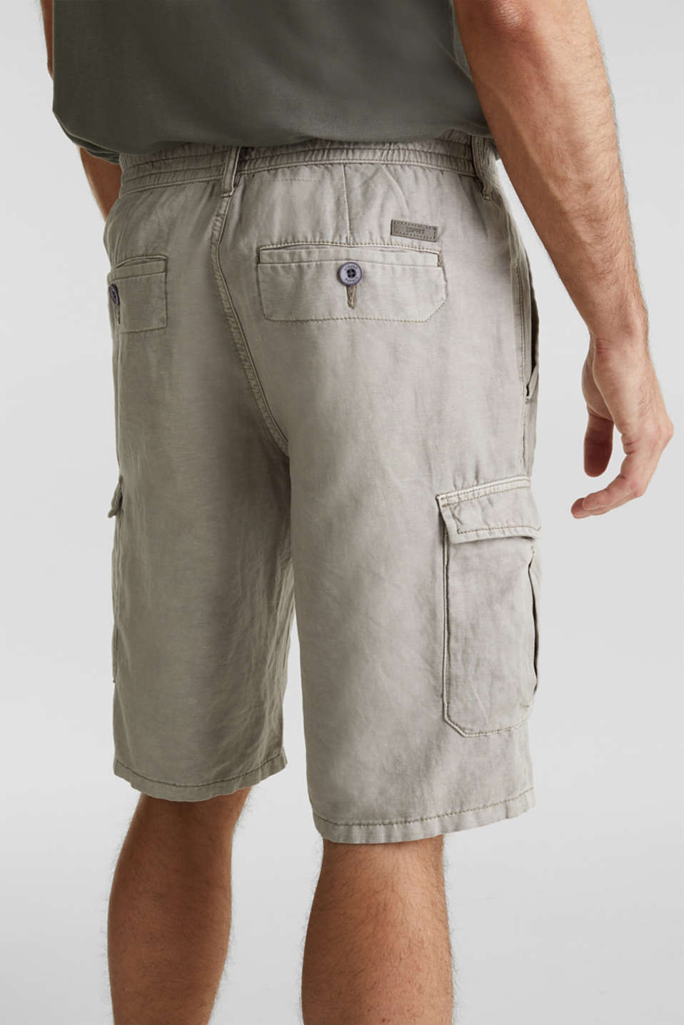 With linen: cargo shorts, LIGHT GREY, detail image number 2