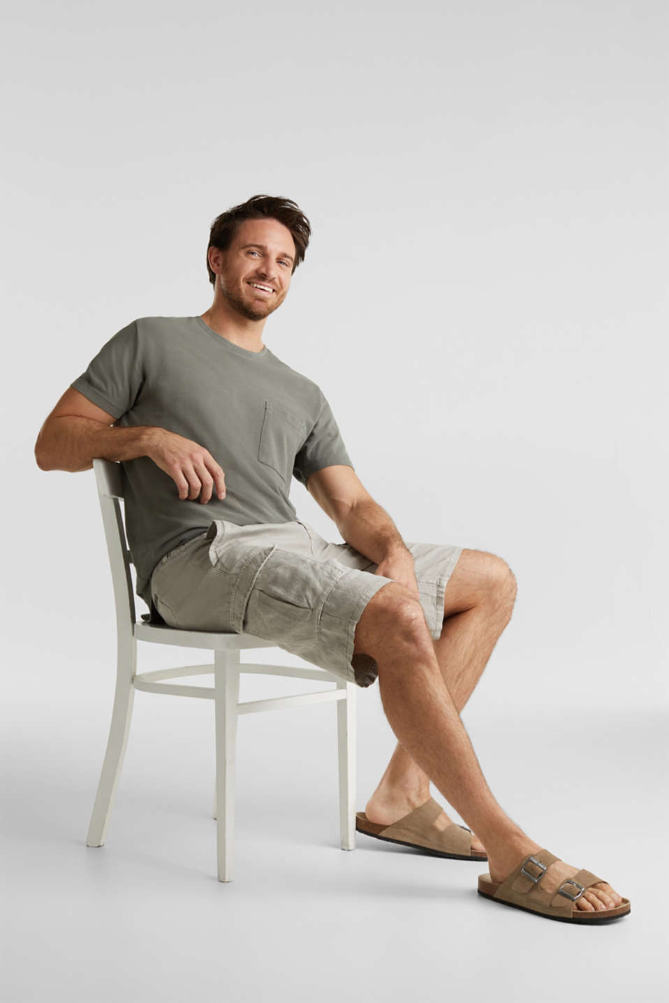 With linen: cargo shorts, LIGHT GREY, detail image number 6