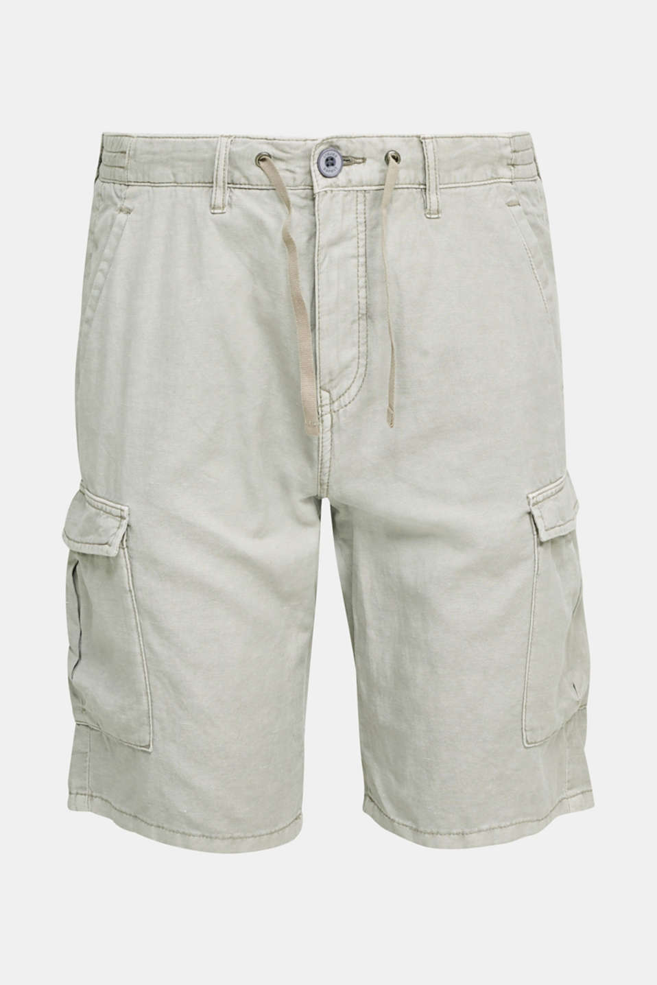 With linen: cargo shorts, LIGHT GREY, detail image number 7