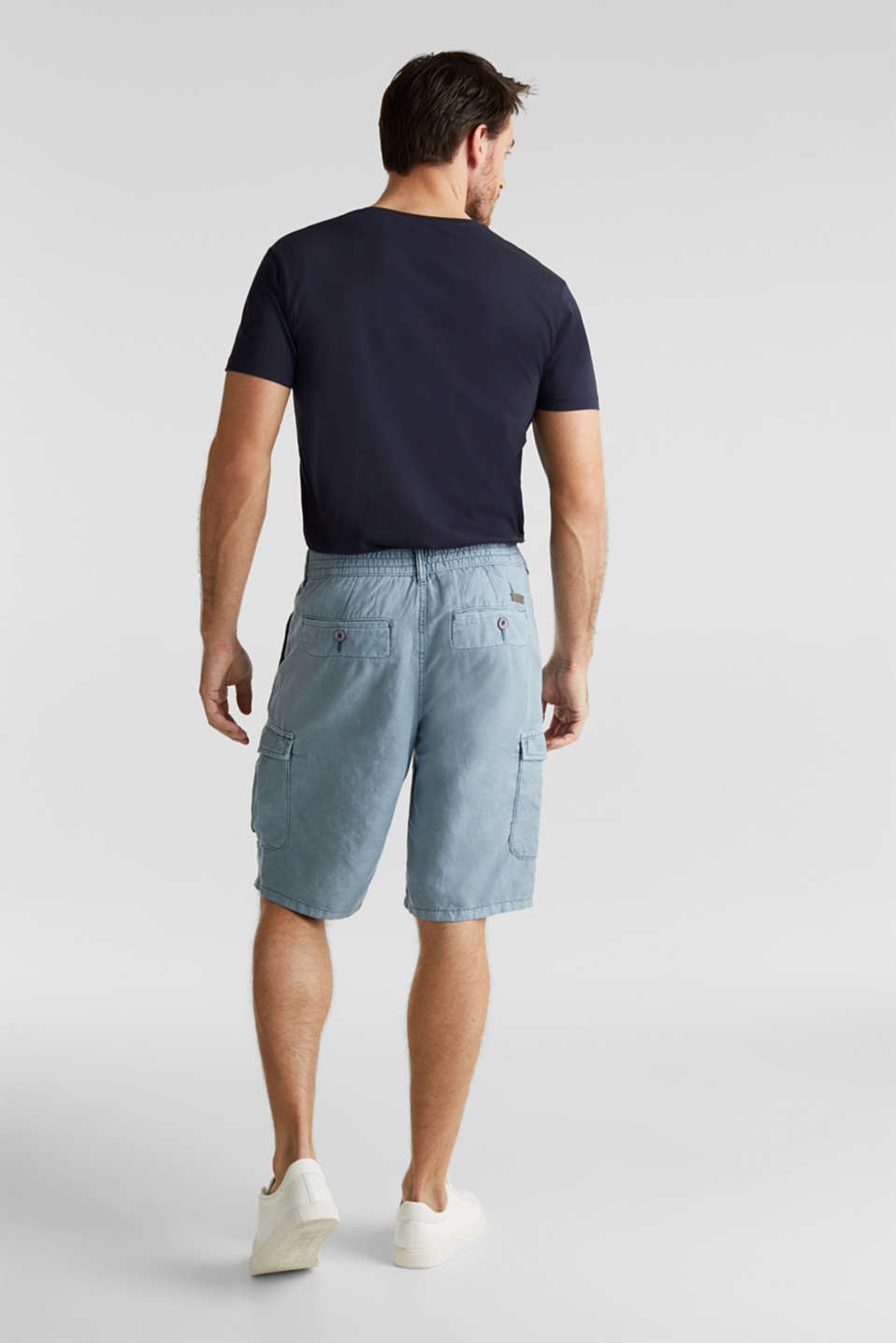 With linen: cargo shorts, GREY BLUE, detail image number 2