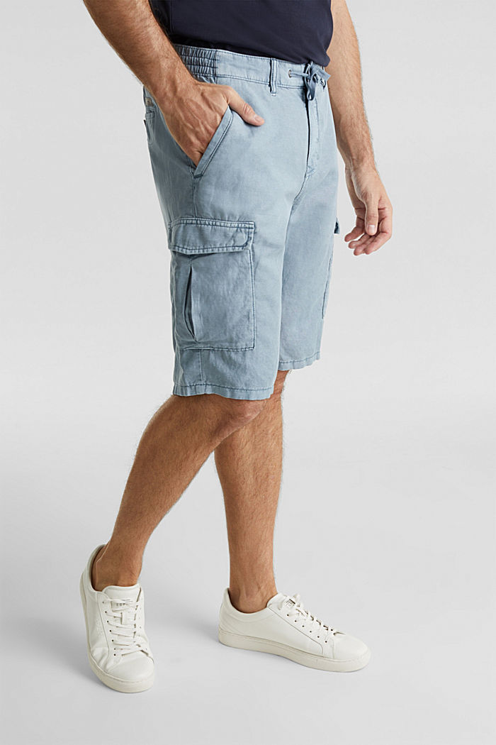 Mit Leinen: Cargo-Shorts, GREY BLUE, detail image number 5