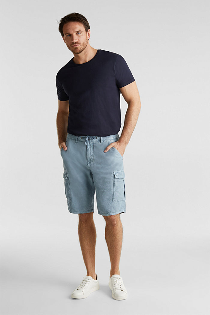 Mit Leinen: Cargo-Shorts, GREY BLUE, detail image number 1
