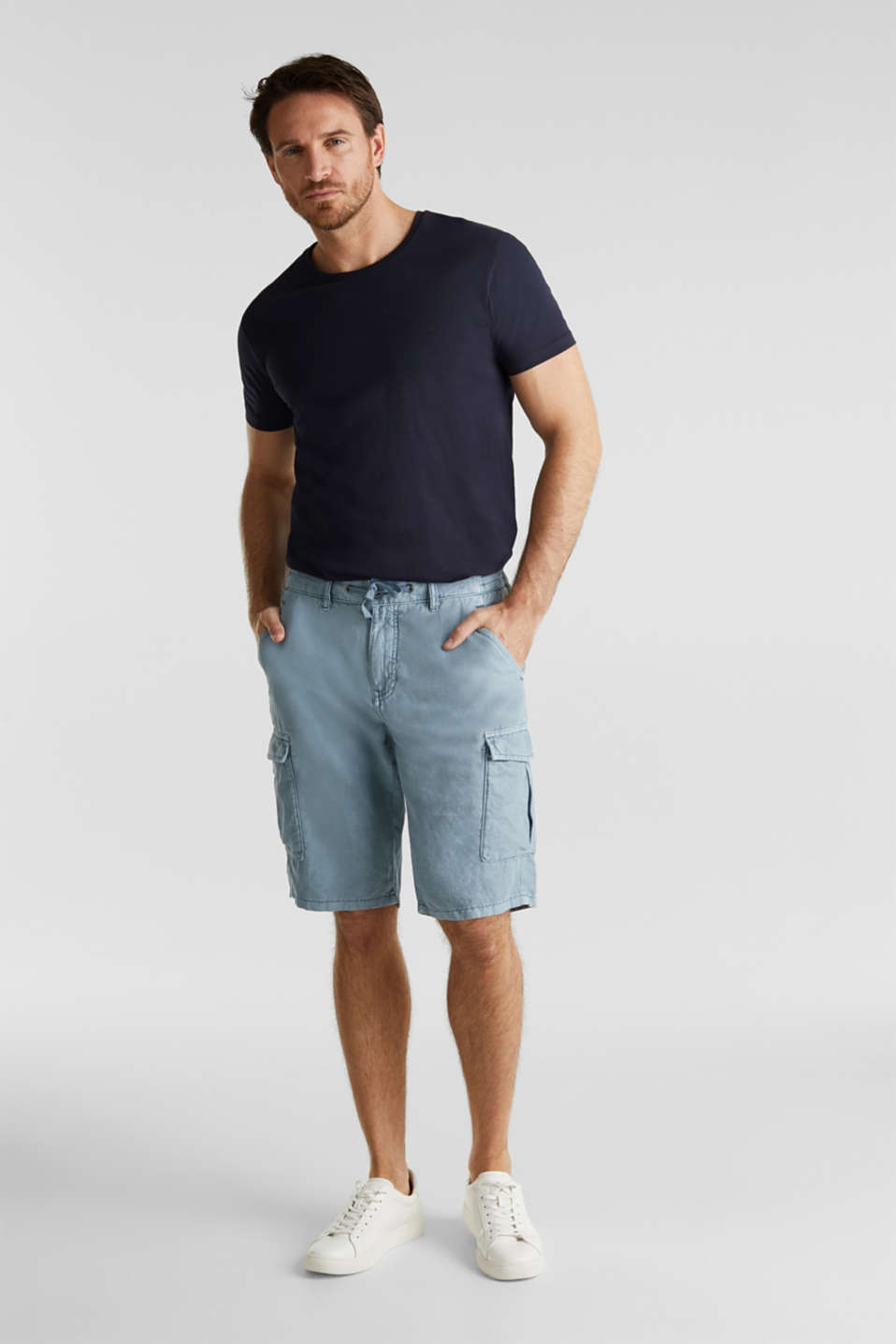With linen: cargo shorts, GREY BLUE, detail image number 1