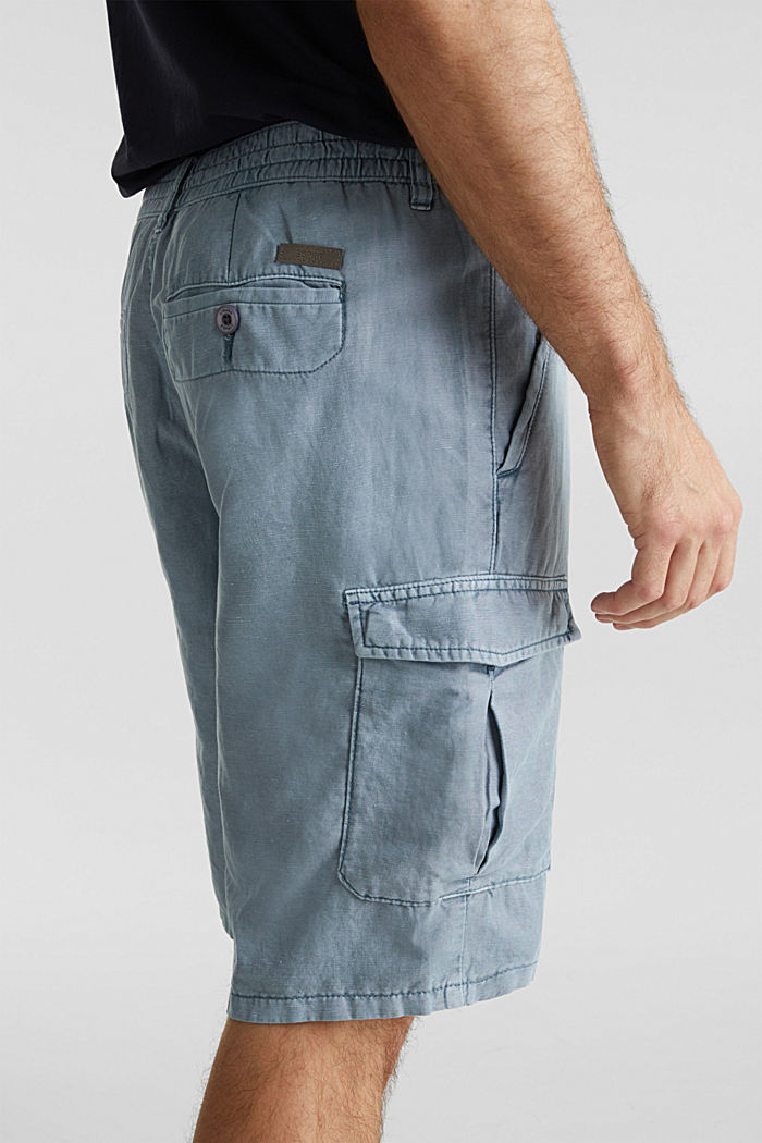 Mit Leinen: Cargo-Shorts, GREY BLUE, detail image number 4