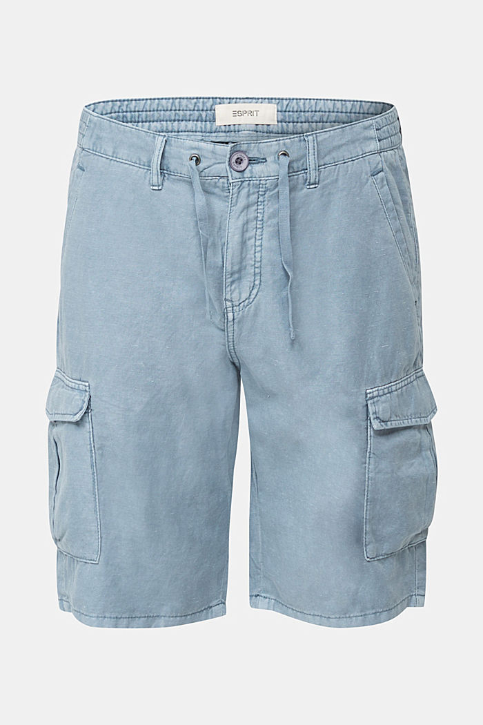 Mit Leinen: Cargo-Shorts, GREY BLUE, detail image number 6